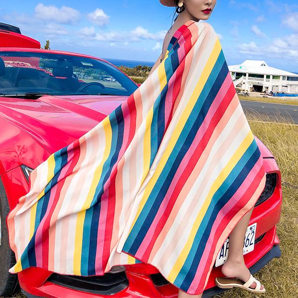 Cut Piece Printed Stripes Colorful Beach Cloak