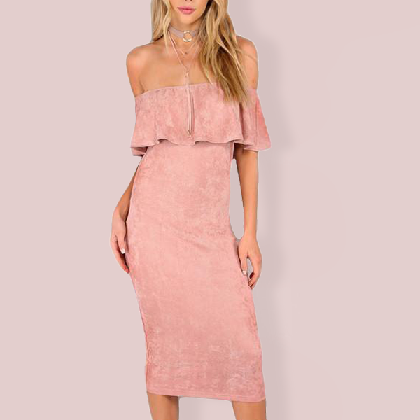Ruffled Off Shoulder Bodycon Party Dress