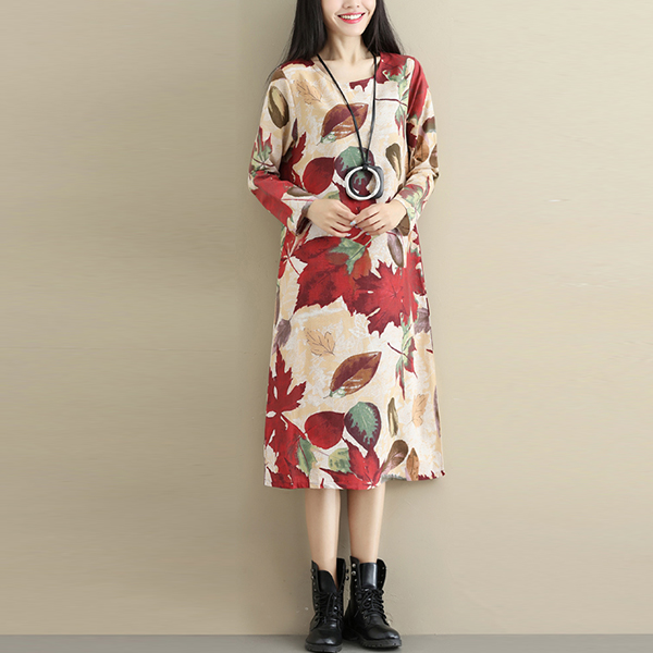 Floral Prints Round Neck Full Sleeves Mini Dress - Red