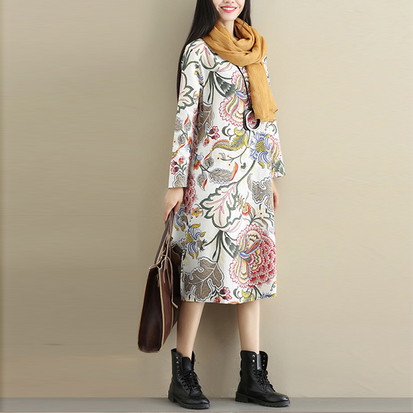 Floral Prints Round Neck Full Sleeves Mini Dress - Multicolor