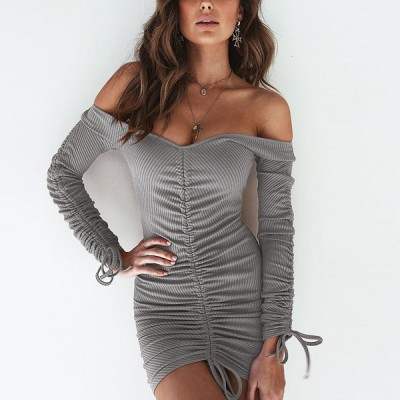 Body Fitted Off Shoulder Party Mini Dress - Gray