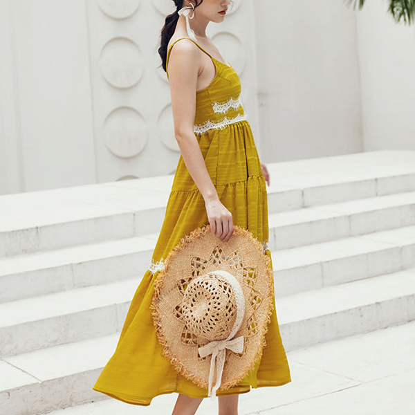 Strap Shoulder V Style Flared Maxi Dress - Yellow