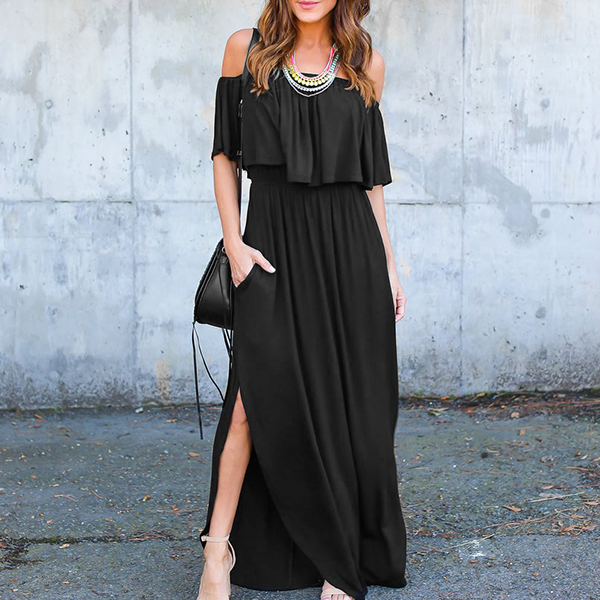Flared Off Shoulder Split Maxi Dress - Black