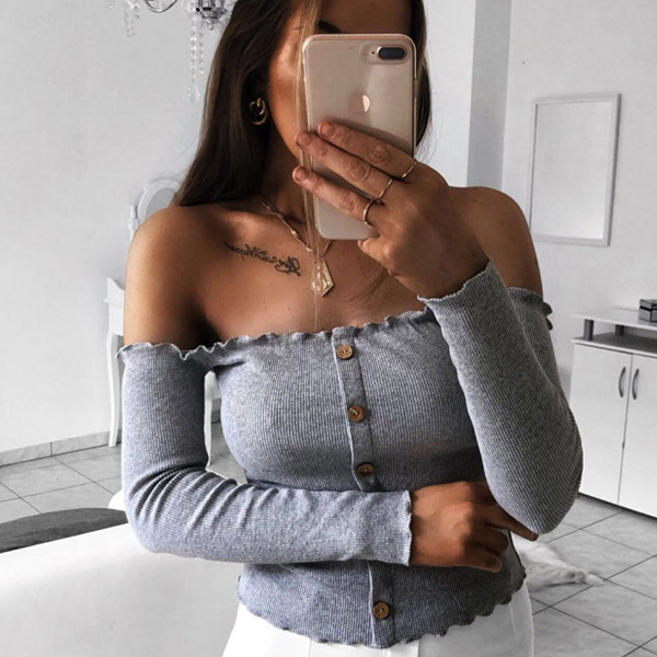 Off Shoulder Button Up Full Sleeves T-Shirt - Gray