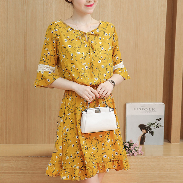 Boat Neck Printed Floral Mini Dress - Yellow