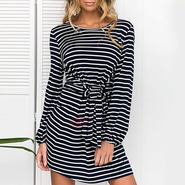 Waist Band Striped Mini Dress - Black And White