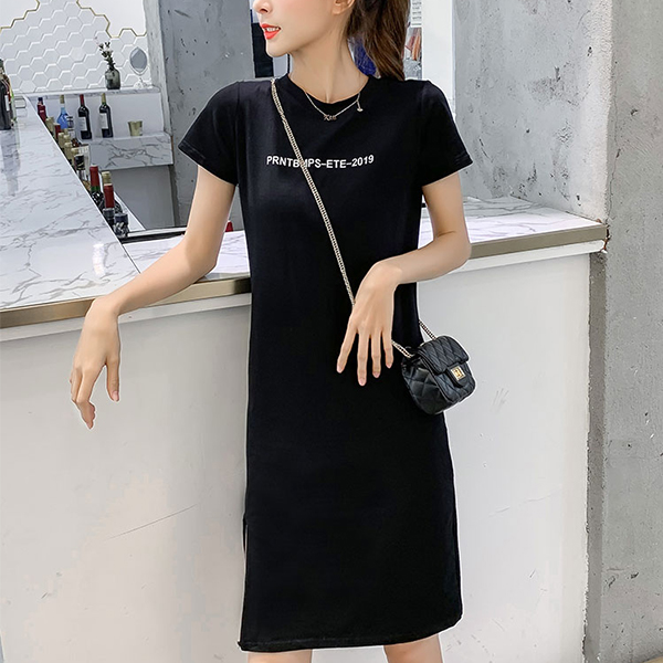 Short Sleeves Summer Wear Mini Dress - Black