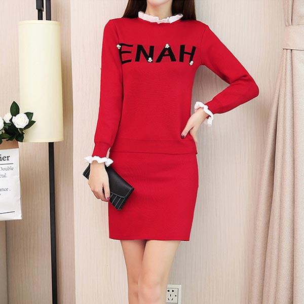 Long Raglan Sleeves Short Skirt Two Piece Women Dress - Red