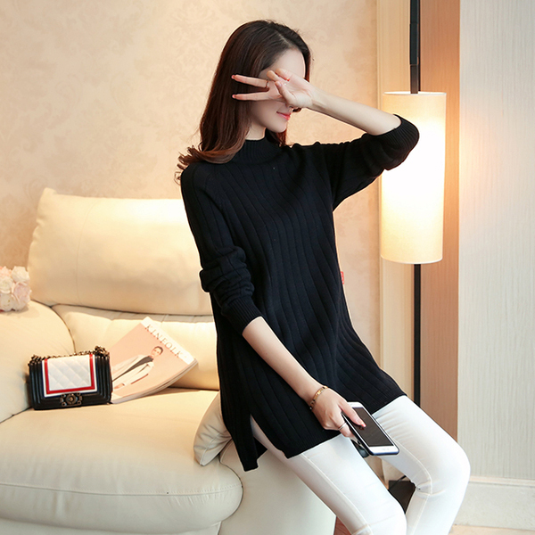 High Neck Ribbed Black Long Sweater
