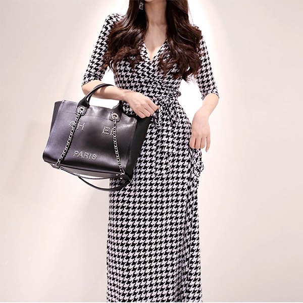 Houndstooth Pattern V Neck Wrapped Long Dress