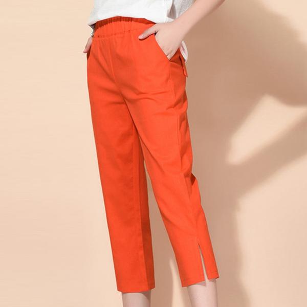 Elastic Waist Narrow Bottom Short Trousers - Orange