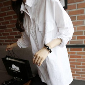 Soft Cotton Summer Wear Loose Long Shirt - White
