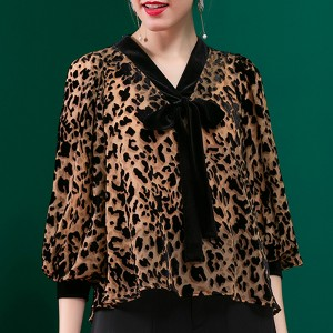 Leopard Prints Neck Band Quarter Sleeved Blouse Shirt
