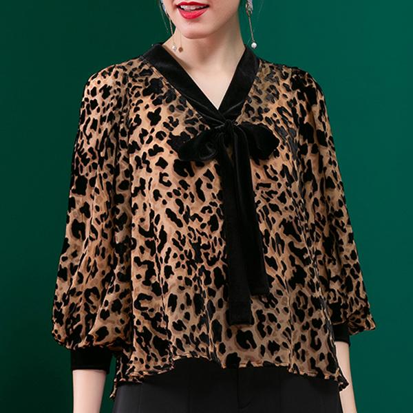 Leopard Prints Neck Band Quarter Sleeved Blouse Shirt