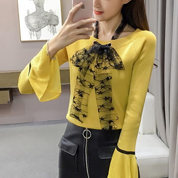 Lace Knotted Neck Frilled Sleeves Yellow Top