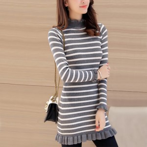 White Striped Frill Hem Grey Long Sweater