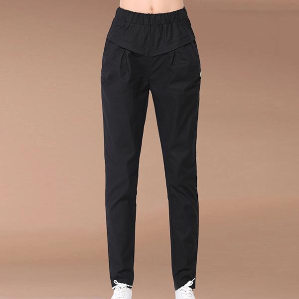 Slashed Elastic Waist Pockets Narrow Bottom Pants - Black