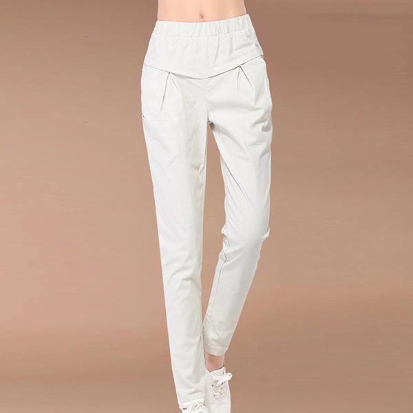 Slashed Elastic Waist Pockets Narrow Bottom Pants - White
