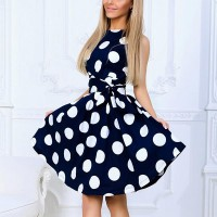 Sleeveless Round Neck Polka Dot Print Slim Dresses - Blue