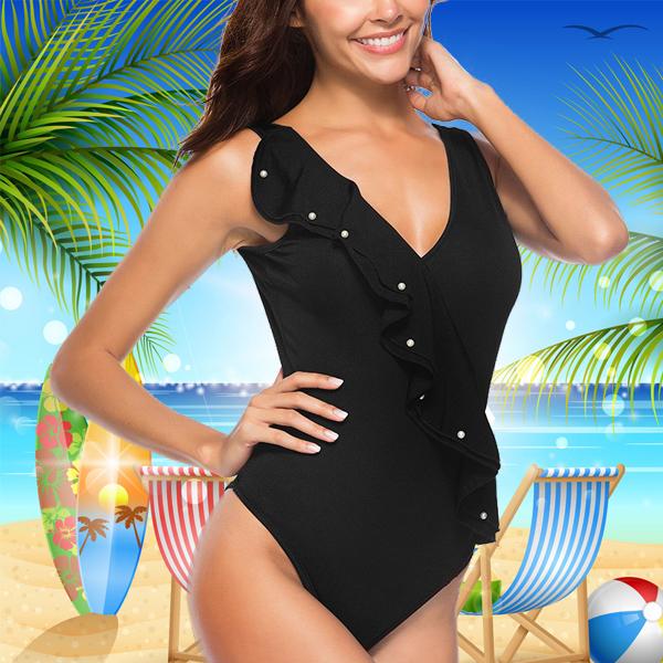 V-Neck Floral Ruffles Backless Beachwear - Black
