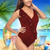 V-Neck Floral Ruffles Backless Beachwear - Burgundy