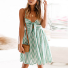 Knotted Chest Striped Mini Beach Dress - Green