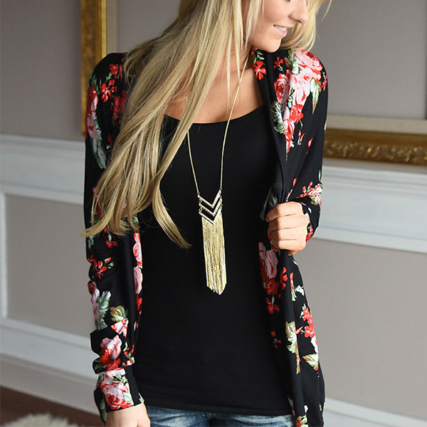 Floral Printed Black Casual Cardigan For Women