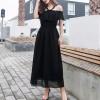 Lace Halter Neck Full Length Summer Dress - Black