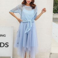 Chiffon Irregular Mini Dress With Knitted Outwear - Blue