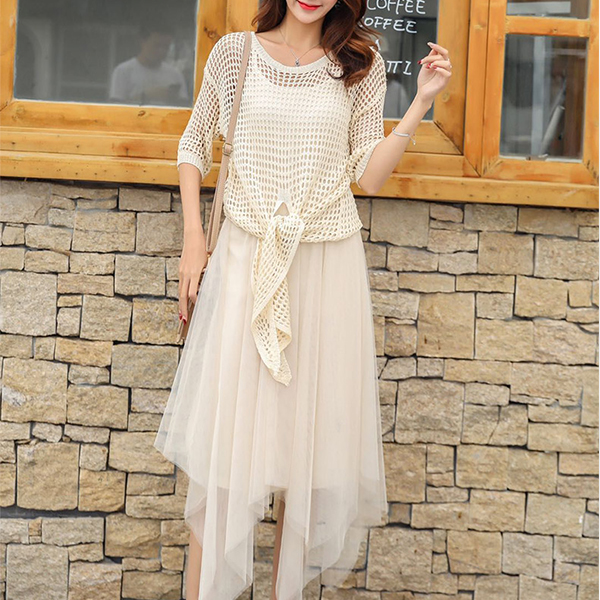 Chiffon Irregular Mini Dress With Knitted Outwear - Apricot