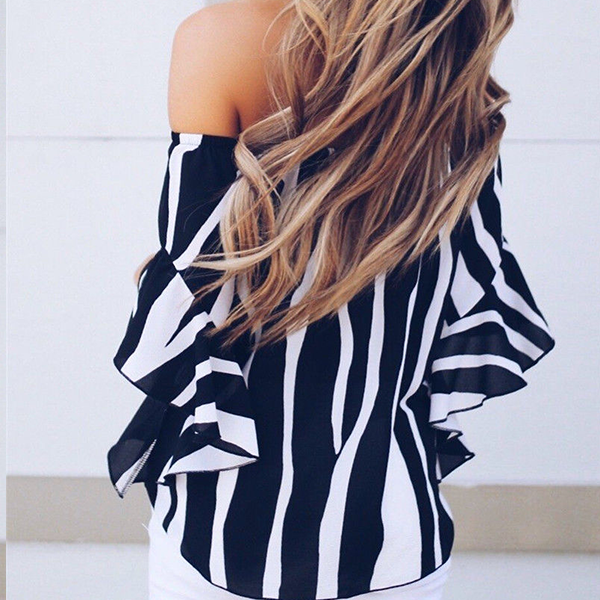 Zebra Prints Knots Style Summer Top - Black