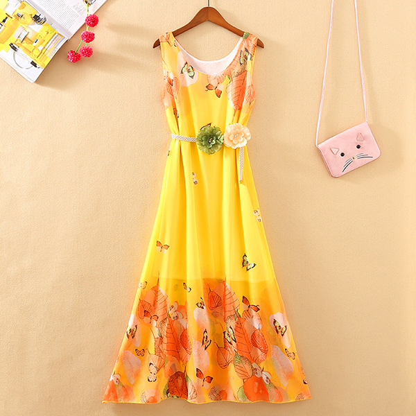 Butterfly Prints Cute Floral Belt Beach Dress - Yellow