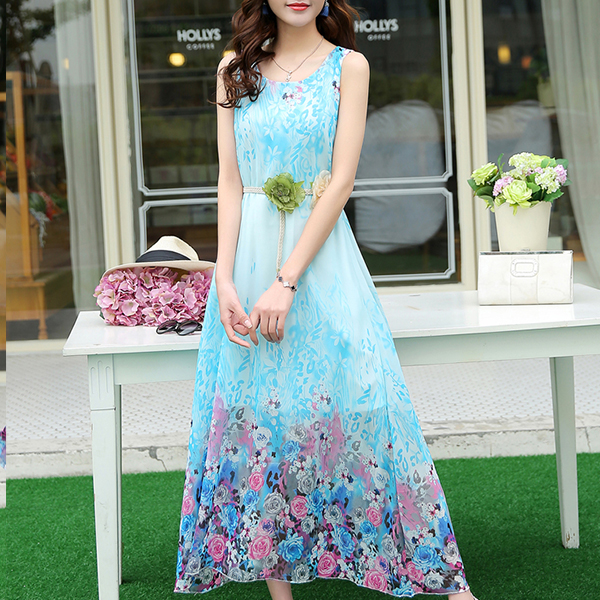 Chiffon Loose Summer Cool Beach Wear Maxi Dress - Blue