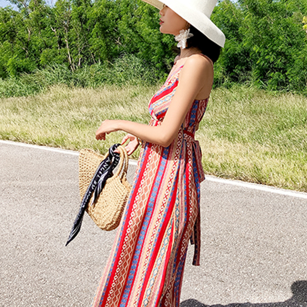 Bohemian Strap Shoulder Beach Wear Maxi Dress