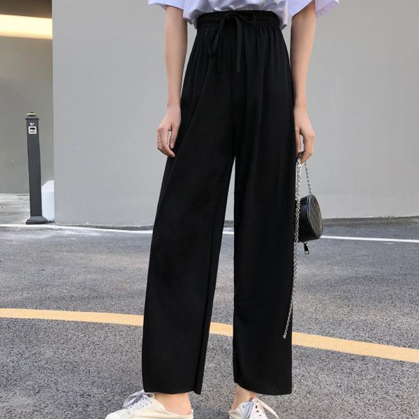 Plain Baggy Bottom Waist Elastic String Trousers - Black