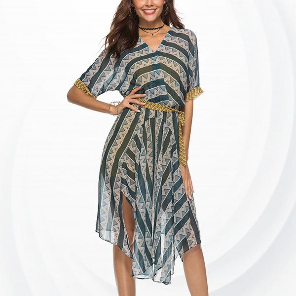 Chiffon Geometric Prints V Neck Loose Dress