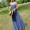 Backless Checks Print Strap Shoulder Maxi Dress