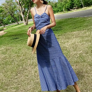 Backless Checks Print Strap Shoulder Maxi Dress