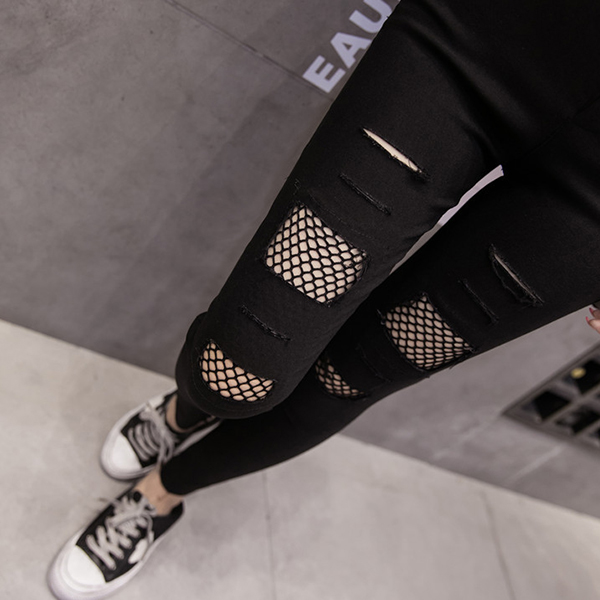 Shredded Net Patched Narrow Bottom Slim Pants