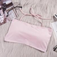 Backless Cross Strap Fitted Sports Wear Bra - Pink