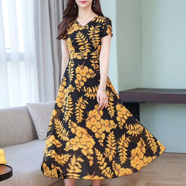 Floral Prints Short Sleeved Party Dress - Yellow