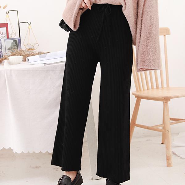 Ribbed Textured Waist Strong Loose Bottom Pants - Black