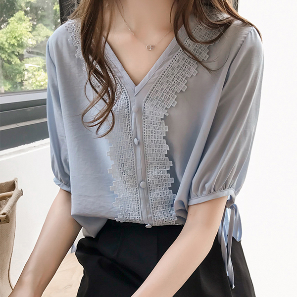 Lace Patched Button Up V Neck Summer Blouse - Blue