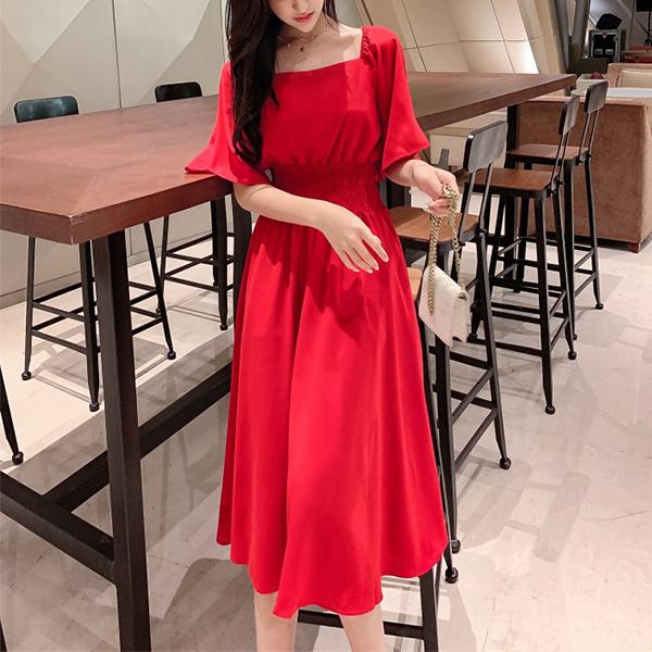 Square Neck Half Sleeves Midi Dress - Red
