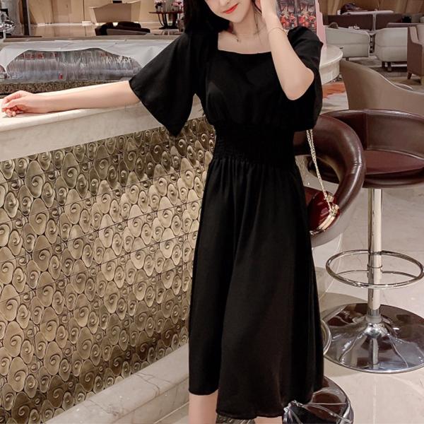 Square Neck Half Sleeves Midi Dress - Black