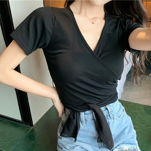 V Neck Wrapped Short Sleeved Casual T-Shirt - Black