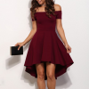 Slash A-line Off Shoulder Sexy Party Casual Dress Burgundy