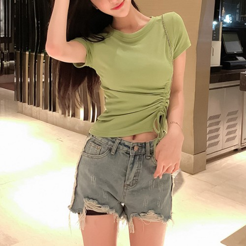 Drawstring Waist Round Neck Summer T-Shirt - Green