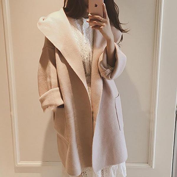 Coat Pleated Full Length Formal Coat - Pink