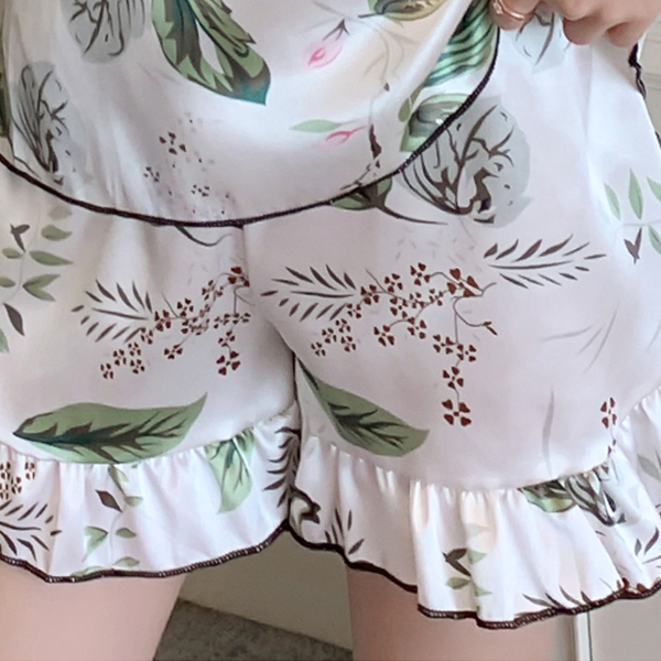 Leaves Prints Two Piece Summer Nightwear Suit